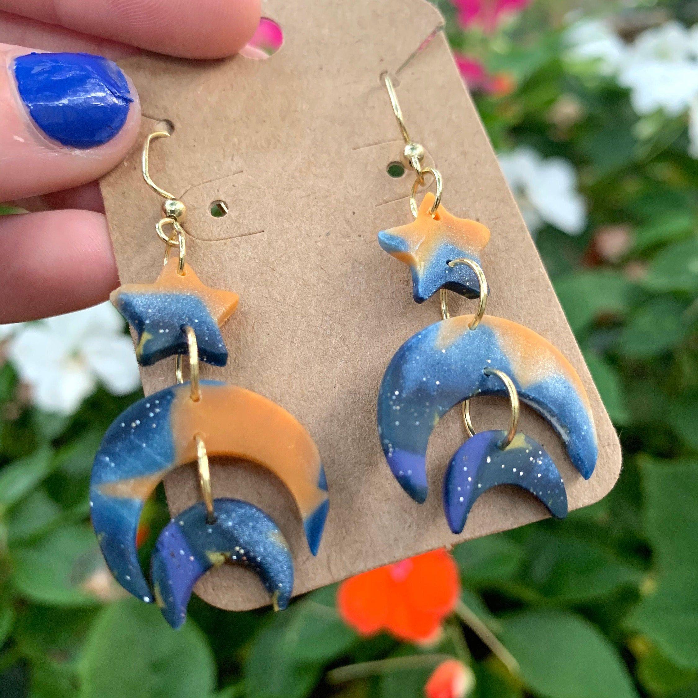 unique blue polymer clay earrings star earrings Handmade boho earrings