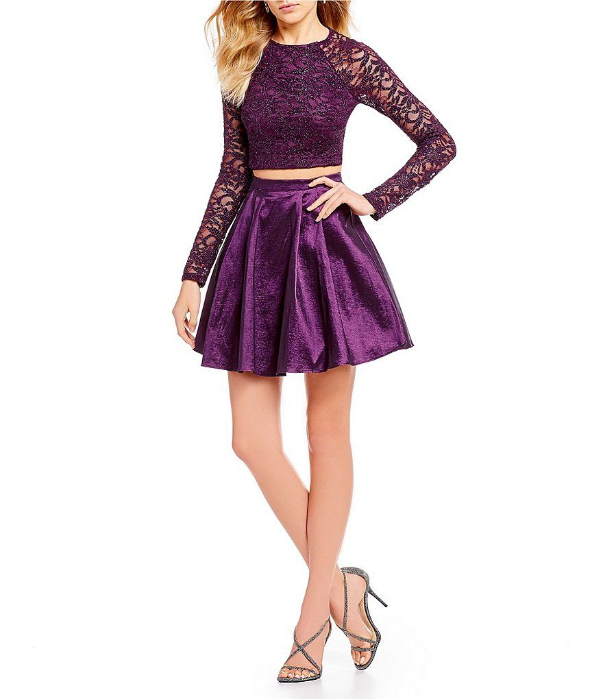 B Darlin Two Piece Glitter Lace And Satin Dress Fancy Short Dresses Homecoming Dresses Long Homecoming Dresses Short [ 1020 x 880 Pixel ]