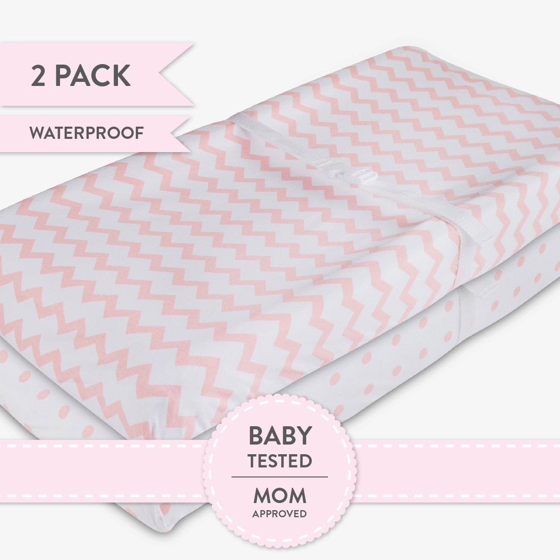 225 & Waterproof Changing Pad Cover | Cradle Sheet Pink Dots and ...