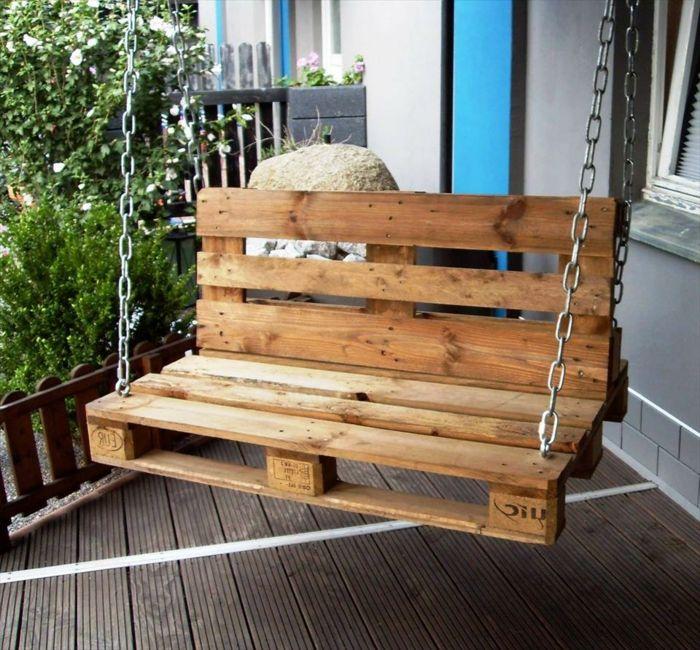 muebles de jardin con palets columpio de palets con cadena de metal terraza y - Muebles De Jardin Con Palets
