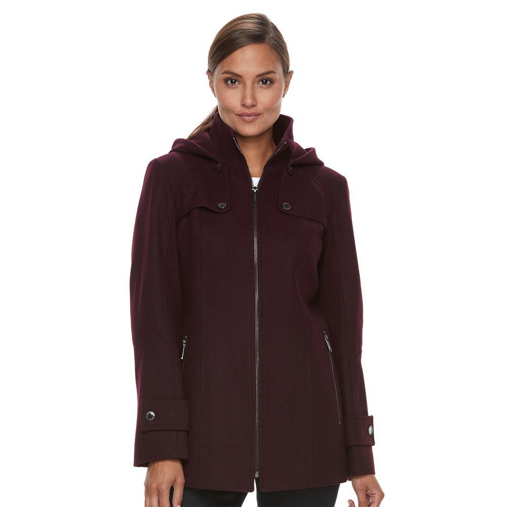 fa06a486a0847 Tower By London Fog Women s TOWER by London Fog Wool Blend Hooded Jacket