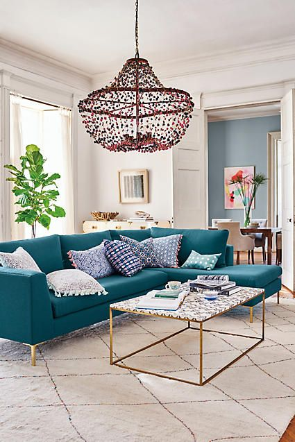 Folding Fans Pillows // Turquoise Couch // Home Decor // Interior Design