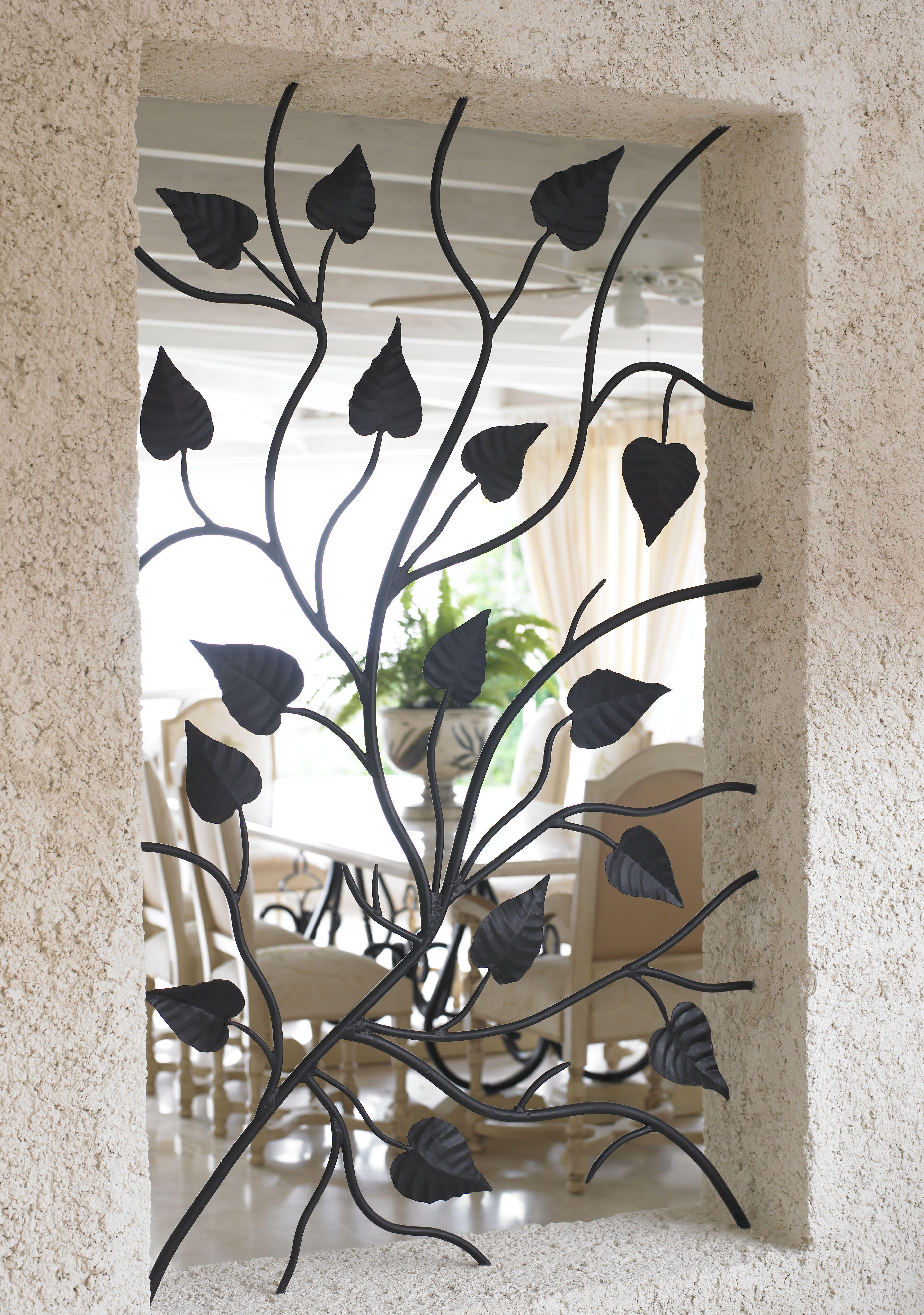 Wrought iron window aperture panel home decor for Window design of iron
