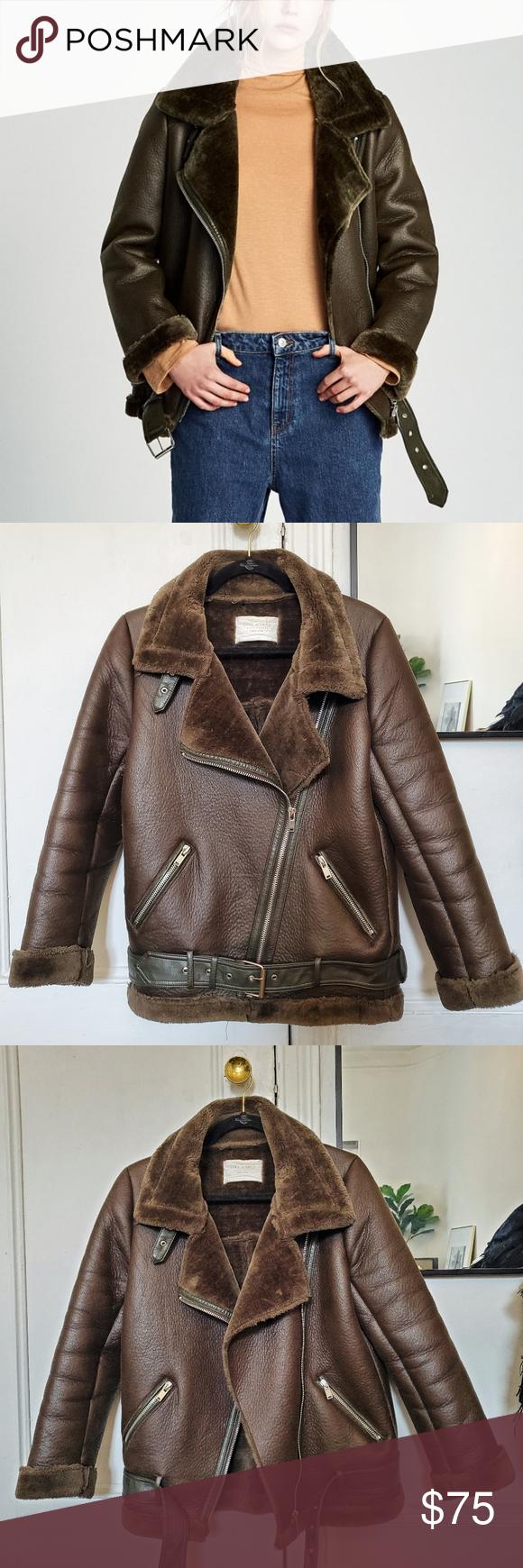 ZARA Faux Leather and Fur Aviator Biker Jacket Biker