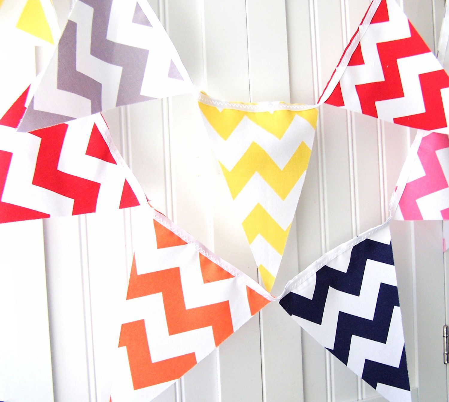 Chevron Banner, Bunting, Fabric Pennant Flags, Photo Shoot Prop ...
