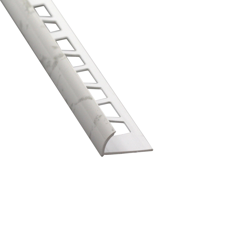 Quart De Rond Mur Marbre Blanc Brillant Pvc Revêtu L250 Cm