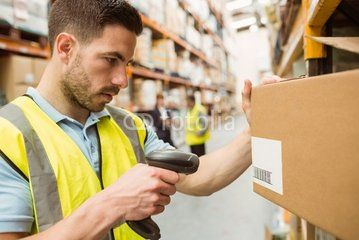 Warehouse Worker Scanning Barcodes On Boxes  My Profession