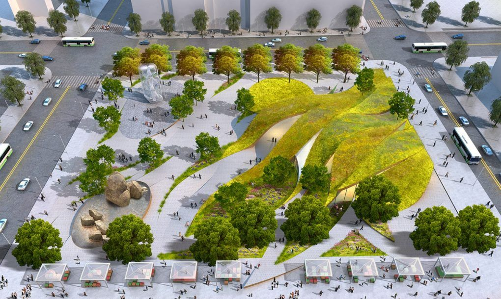 Rolling Green Ribbons Proposed For New Urban Park In Downtown La Landscape Architecture Design Landscape Plans Urban Park