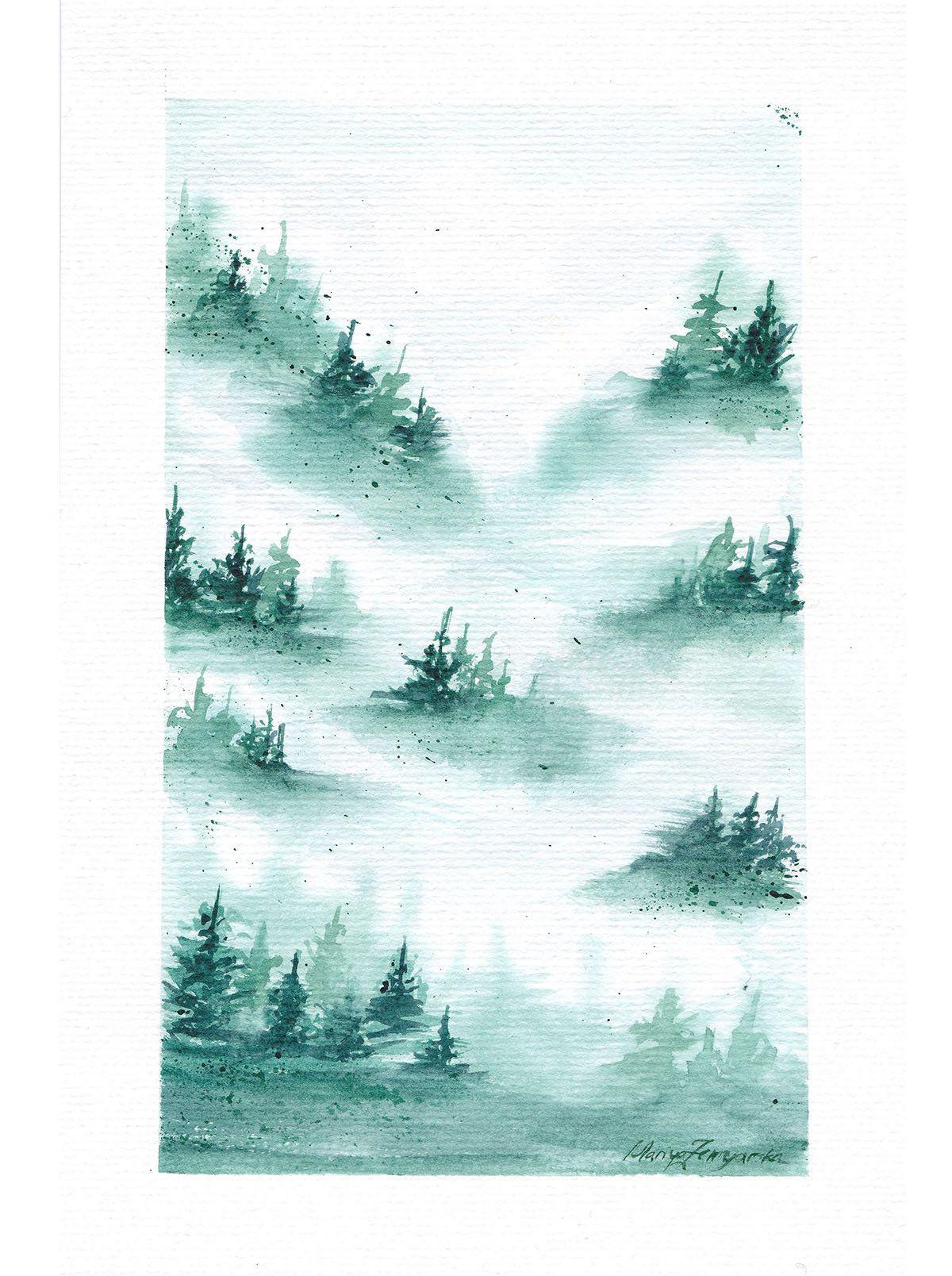 Original Aquarell Wald Nebel Minimalistisch Kunst Unikat Fine