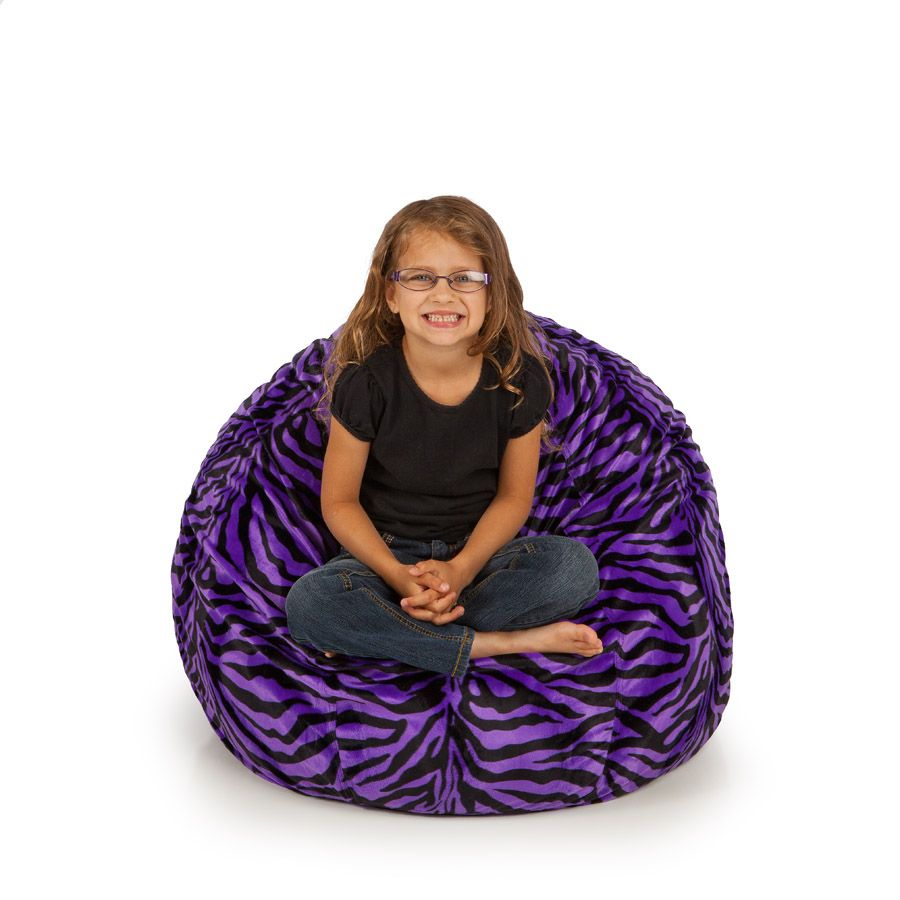 Sensational Small Bean Bag Removable Cover Animal Fur Purple Zebra Inzonedesignstudio Interior Chair Design Inzonedesignstudiocom