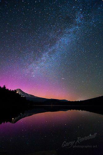 Aurora Over Mount Hood Scenery Beautiful Sky Nature Photography
