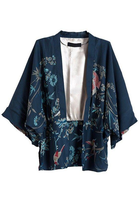 Navy Blue Bat Sleeve Loose Cotton Blend Kimono | Kimono style ...