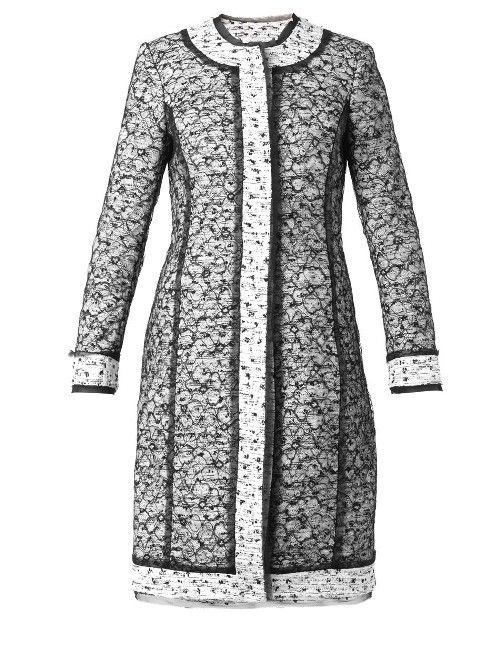 We could see Kate wearing this gorgeous black and white OSCAR DE LA RENTA Tweed and lace coat. It has a similar shape to several of her other coats and the black & white colors are timeless!