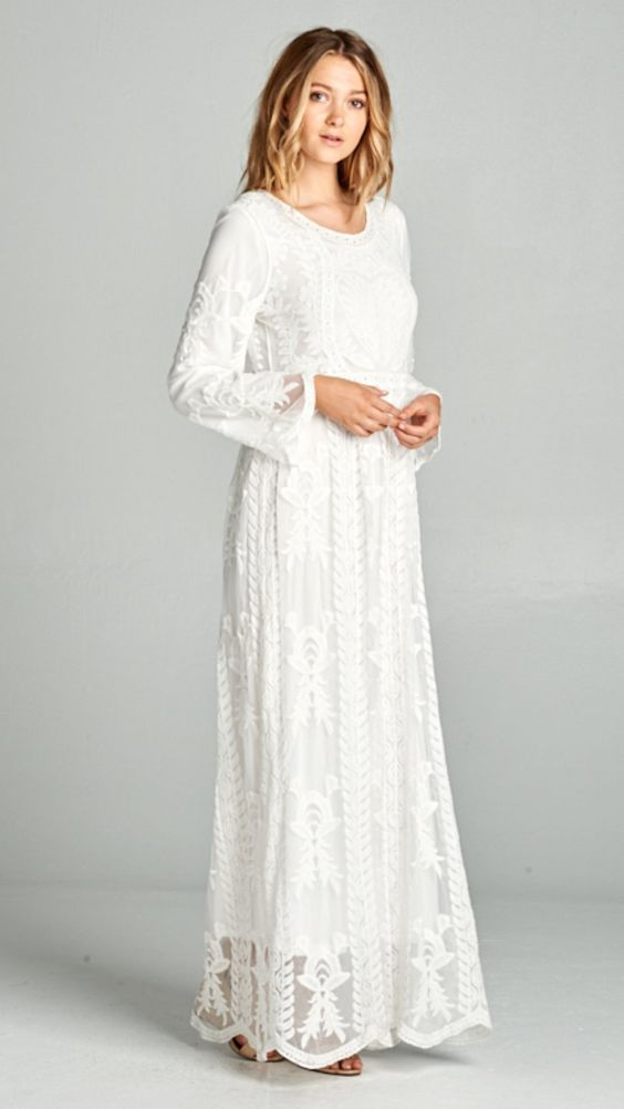 White Lace Dress Lds Temple Dress Also Comes In Plus Size Xs Xxl