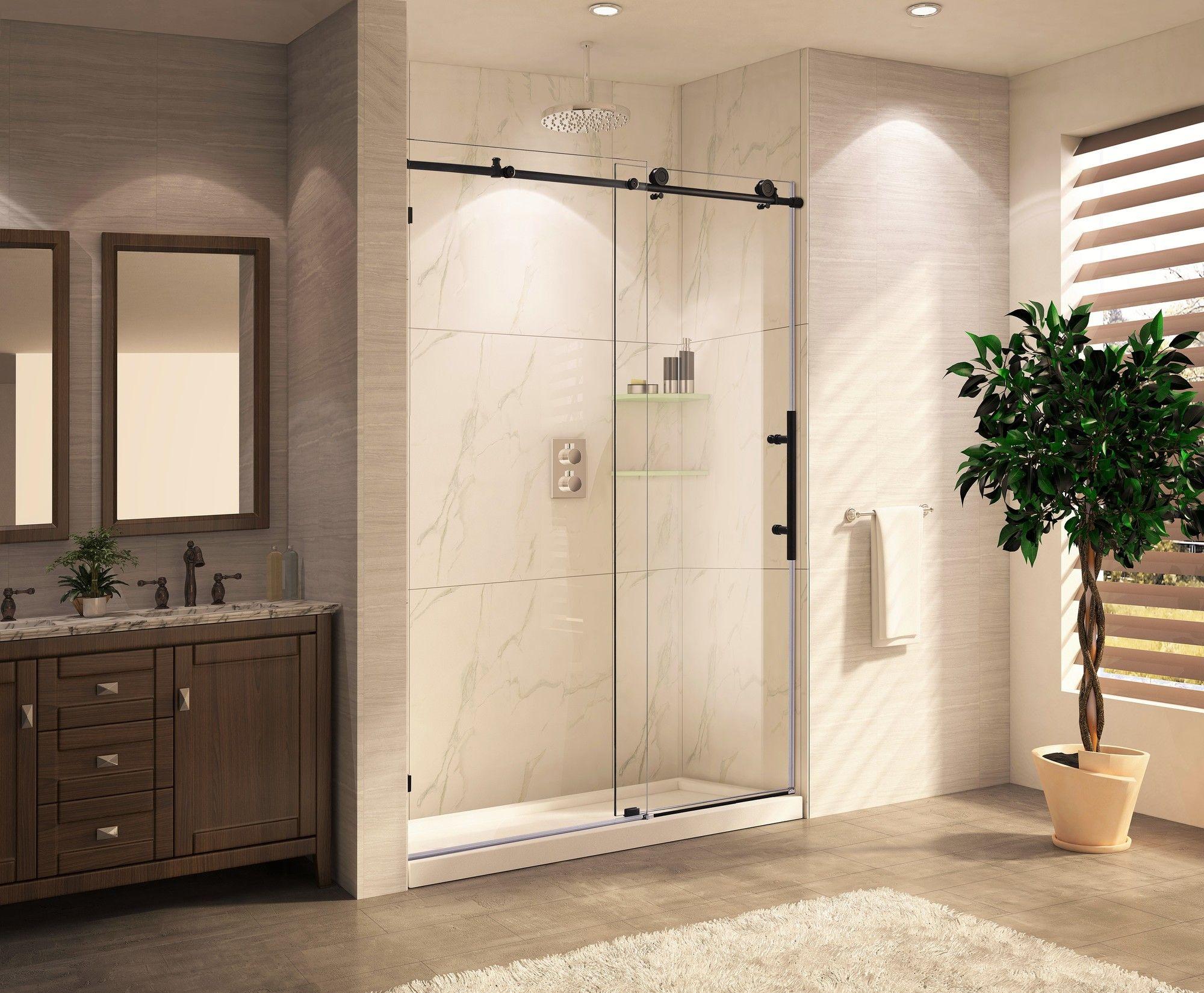 Mocha 48\'\' x 76\'\' Single Sliding Frameless Shower Door | Frameless ...