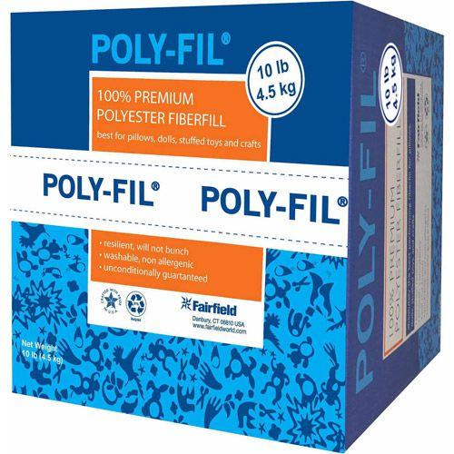 10 lb White Fairfield PF-10 The Original Poly-Fil Premium 100/% Fiber Fill Box Pack of 2