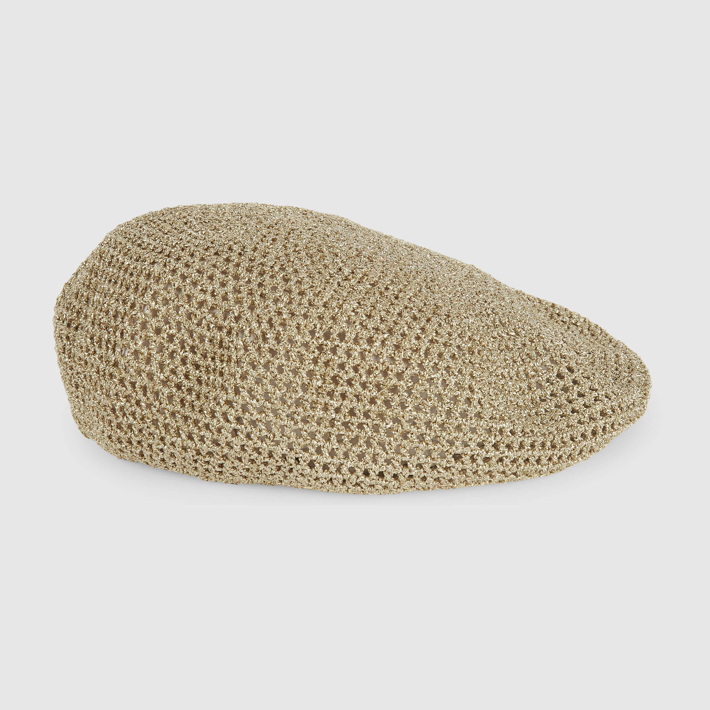 Gucci Women - Gucci Champagne Knit lurex hat -  465.00  c2aa39a4f5a