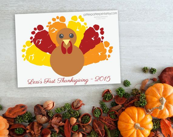 100% authentic great quality order Thanksgiving Decoration Turkey Baby Footprint Art, Fall Decor ...