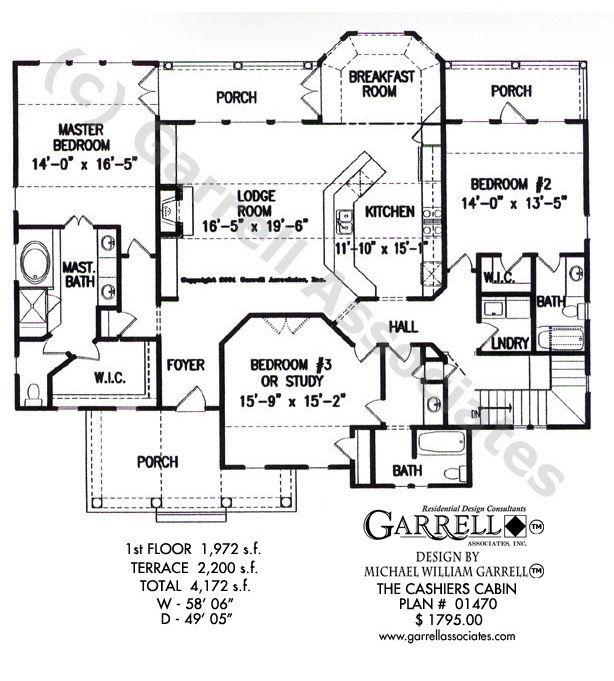 Cashiers Cabin House Plan 01470 Garrell Associates Inc Cabin House Plans Cottage Floor Plans House Plans