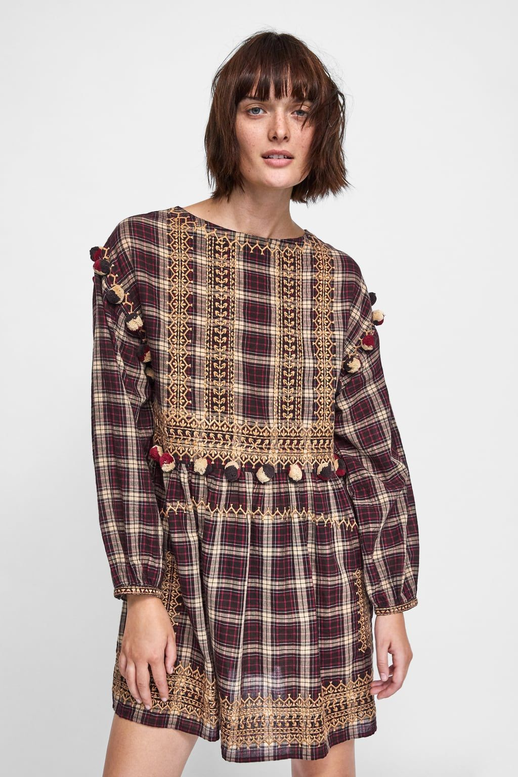 3057c0971497 Image 2 of PLAID DRESS WITH POMPOMS from Zara | Stuff I want Rn ...