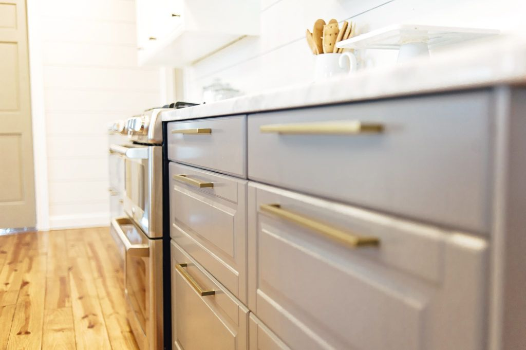Ikea Bodbyn Gray Cabinets With Br Hardware