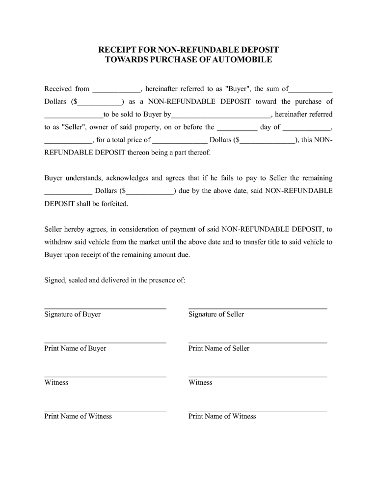 deposit form for car  car deposit form 7. | Purchase agreement, Legal forms, Templates