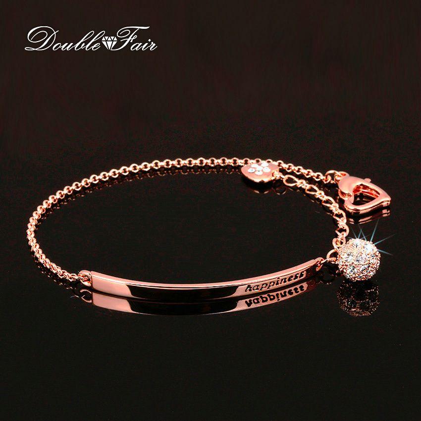 Double fair cubic zirconia bola del estilo ol moda pulseras del encanto y brazaletes Regalo de la Joyería de Oro Rosa de Color de Cristal Para Las Mujeres DFH196(China (Mainland))