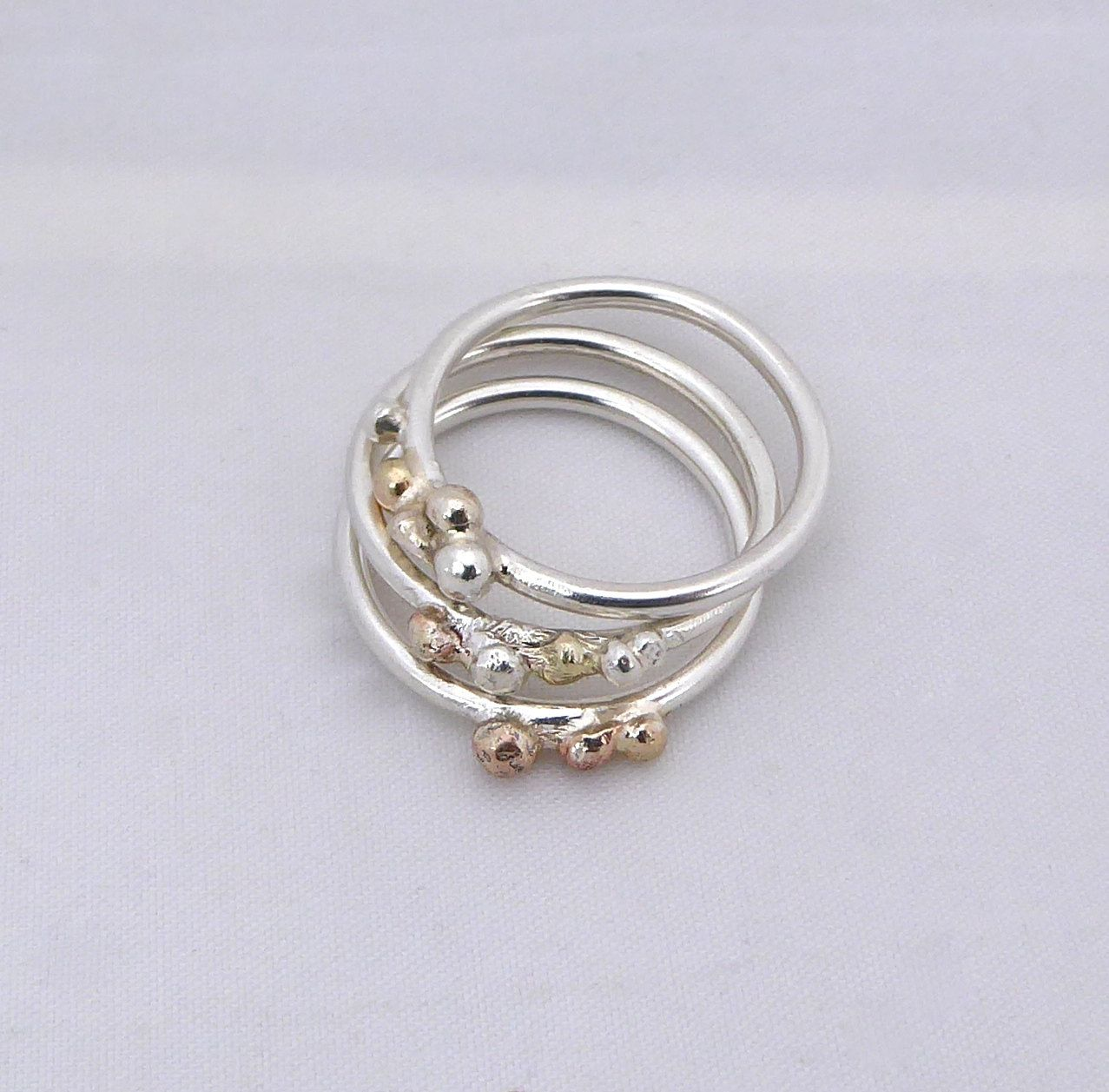 Silver Stacking Rings Rose Gold and Yellow Gold Sterling Silver