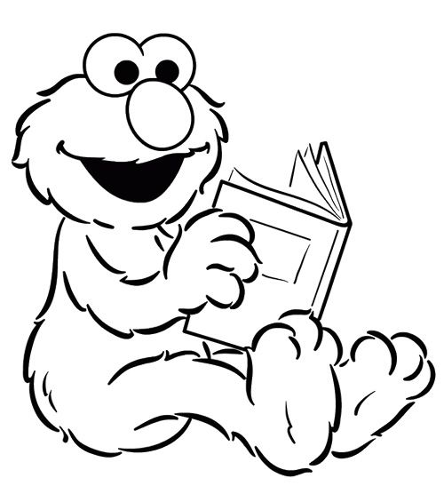 elmo reading book coloring page - Elmo Coloring Page