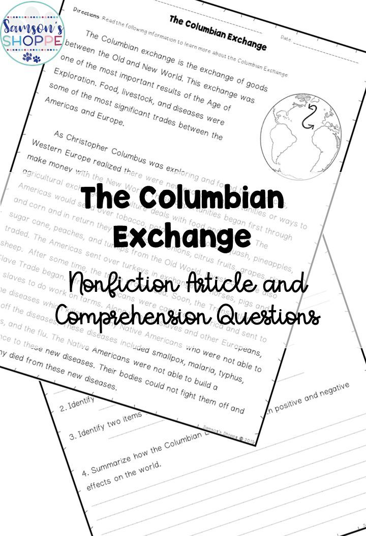 Columbian Exchange Old World, New World Reading Activity