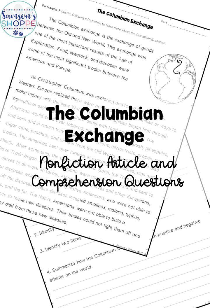 Columbian Exchange Old World, New World Reading Activity