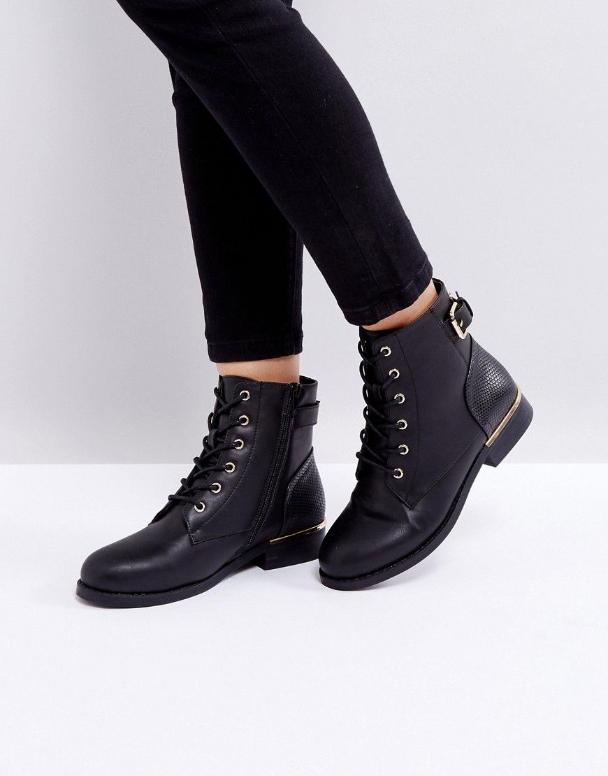 eb58dc47e8f4 Boohoo Lace Up Flat Ankle Boot - Black