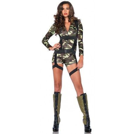 Fantasia Feminina Soldado Paraquedista Militar Festa Halloween Carnaval.  Preço  R 72 dfd2acdea8b