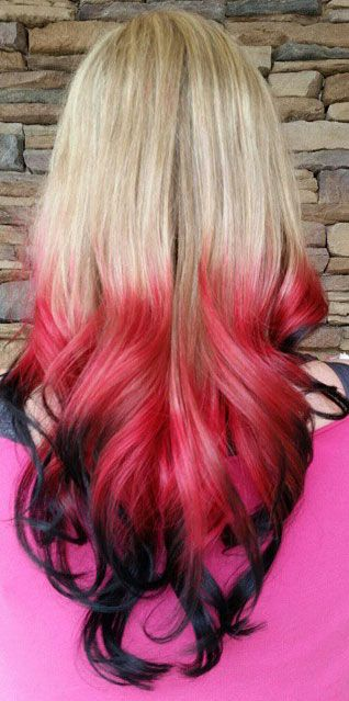 Blonde Red Black Ombre Dip Dyed Hair Color Hair Color For Black Hair Dip Dye Hair Black Hair Ombre