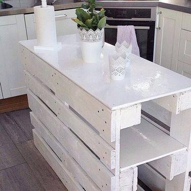 diy d co un ilot de cuisine faire avec 3 fois rien cuisine en palette ilot de cuisine et. Black Bedroom Furniture Sets. Home Design Ideas