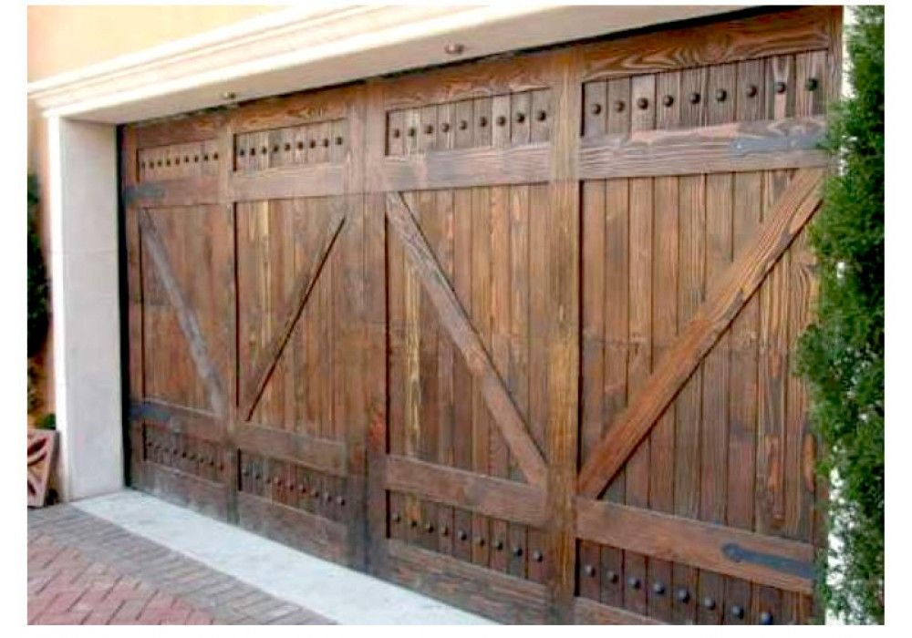 Alpine Rustic Wood Garage Door With V Grooved Panel Wood Garage Doors Wooden Garage Doors Custom Wood Garage Doors