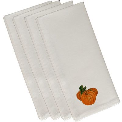 """Three Posts Tres Calabazas Holiday Print Napkin Size: 19""""H x 19""""W, Color: Ivory"""