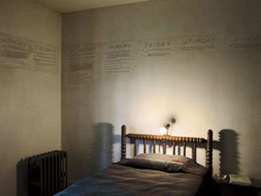 Writers' Bedrooms  William Faulkner: More of an office with a bed — the Nobel prize-winning author outlined the plot of The Fable on the walls of the room and then shellacked his notes to preserve them.