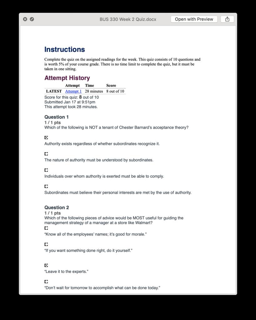 BUS 330 BUS330 Week 2 Quiz Answers (2019) - Ashford | Homework