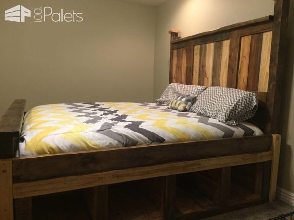 Two Toned Pallet King Size Bed Frame Wood Work King Size Bed