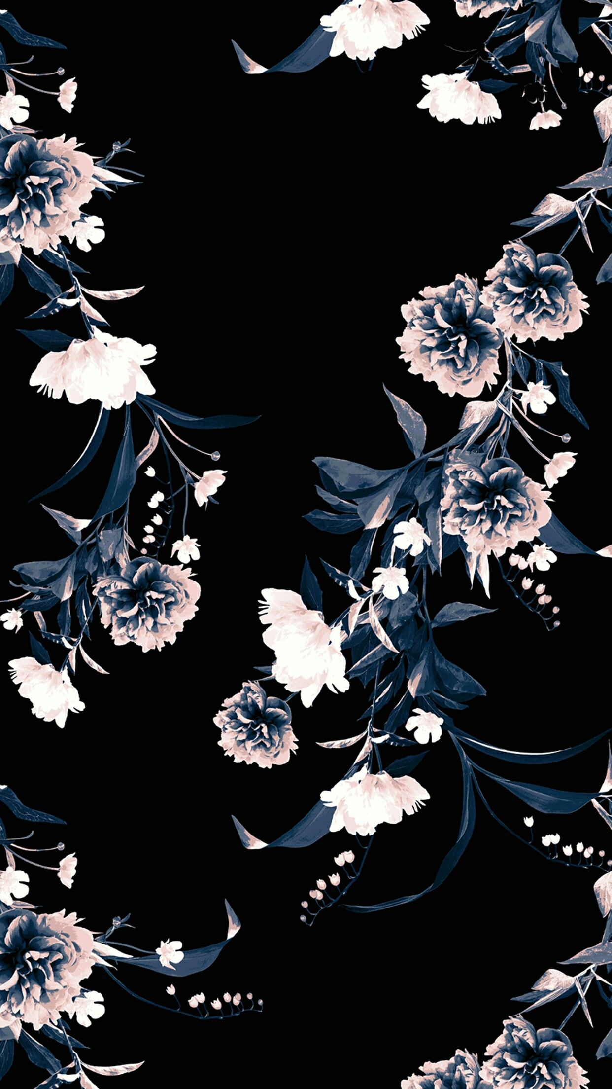 Black floral Floral wallpaper, Flower wallpaper, Art
