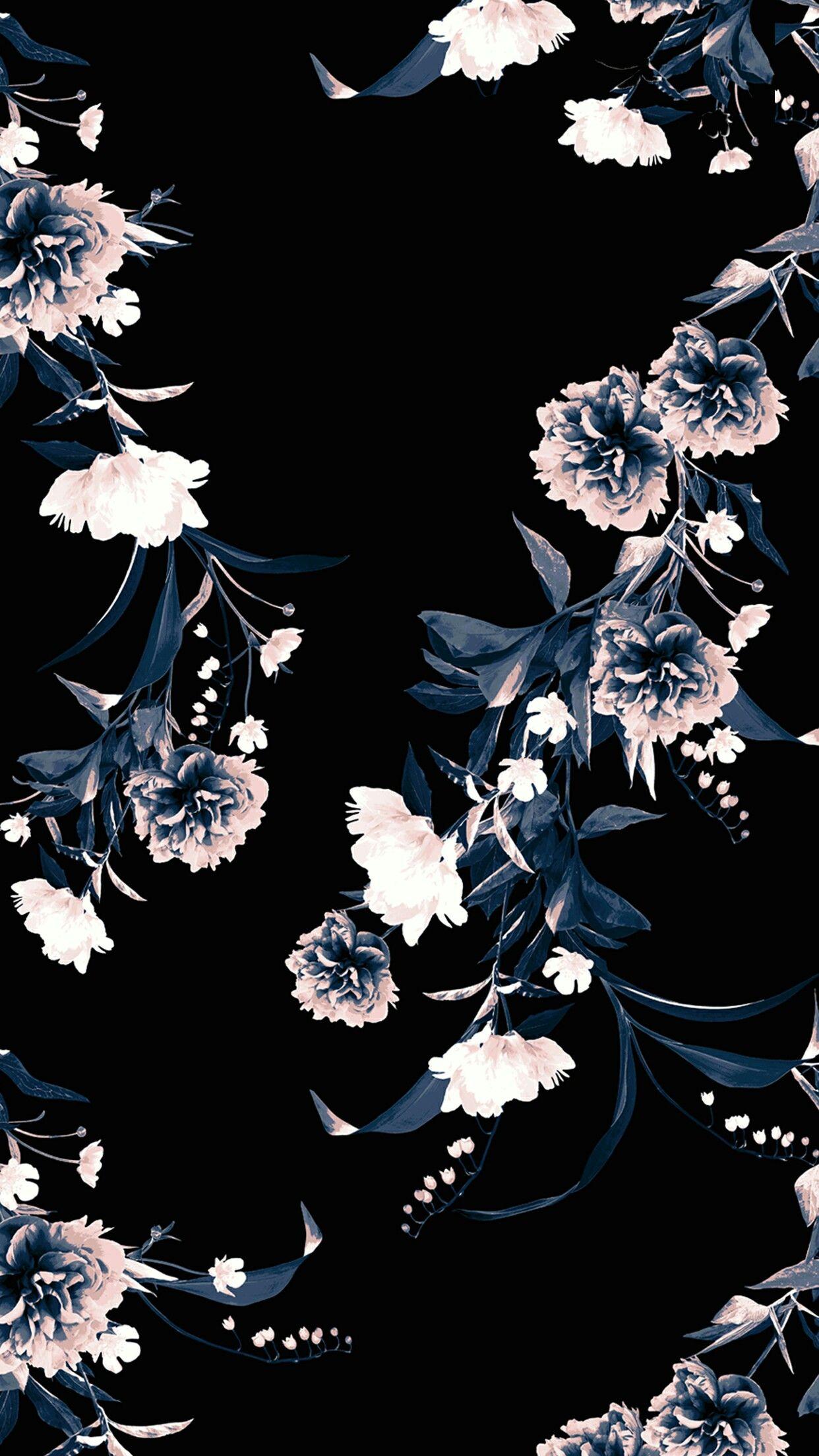 Black floral Floral wallpaper, Flower wallpaper, Art