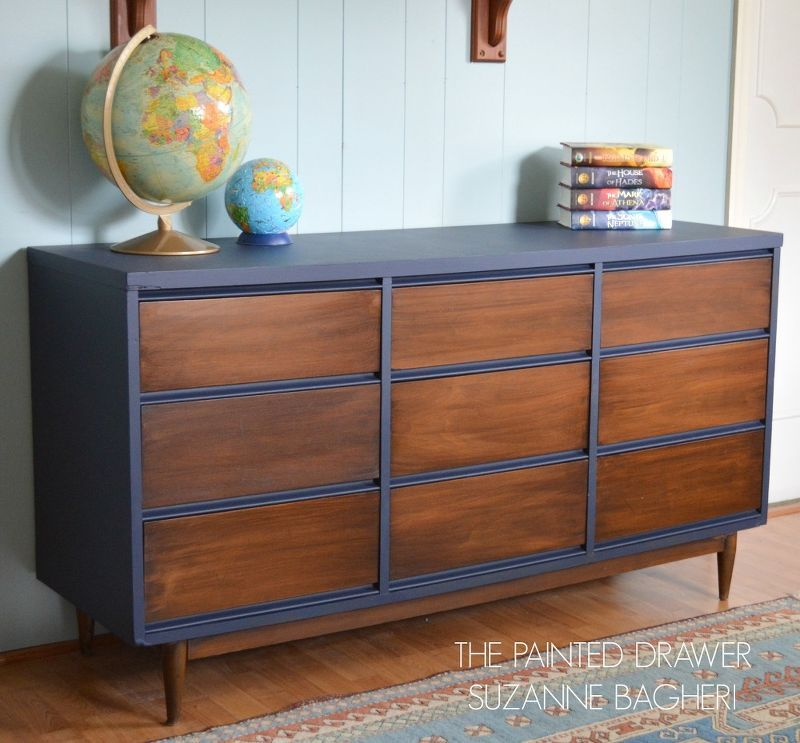 mid century modern dresser makeover schr nkchen m bel und alte m bel. Black Bedroom Furniture Sets. Home Design Ideas