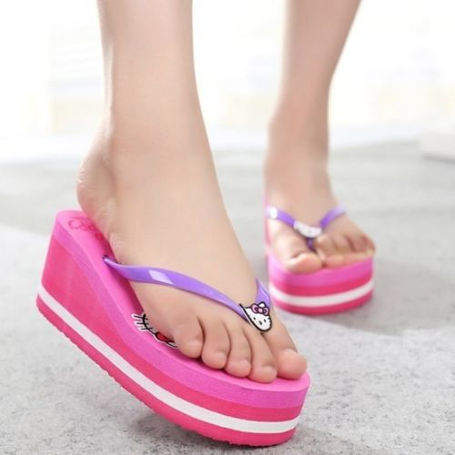 0223ad7ad Girls-Flip-Flops-Slippers-Wedge-High-Heels-Platform-Thick-Soles-Sandals- Shoes