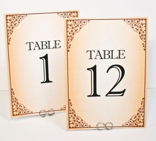 Vintage Frame Sepia Tone Table Number Cards By Bellus Designs On Etsy