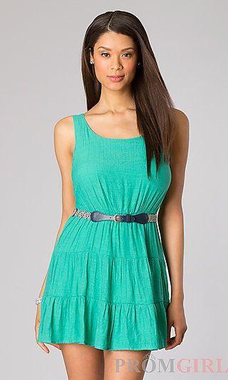 Short Sleeveless Casual Dress at PromGirl.com#dress
