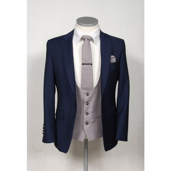 Royal blue slim fit 3 piece suits with contrasting grey waistcoats ...