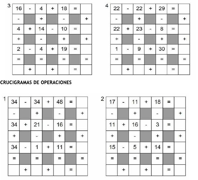 Crucigramas de Operaciones/Addition and Subtraction Puzzles   Math ...