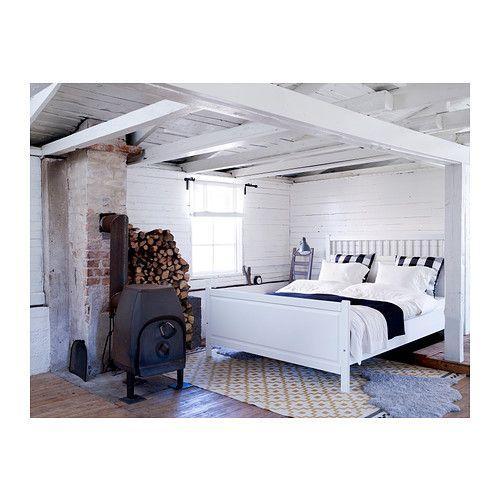 Hemnes bed frame with slatted bed base ikea adjustable bed for Bed base ikea