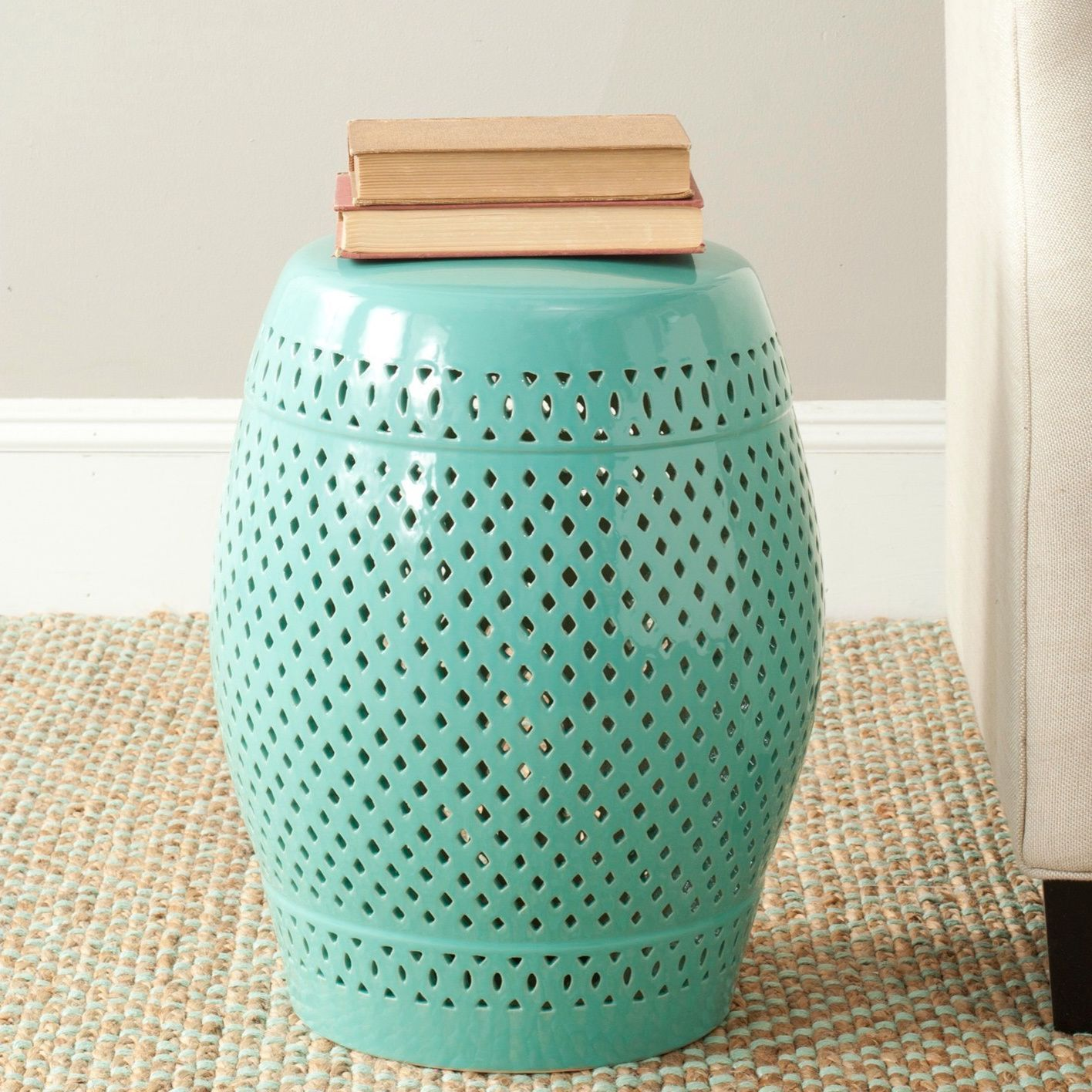 Safavieh Paradise Courtyard Light Blue Ceramic Garden Stool (ACS4507C),  Outdoor Décor